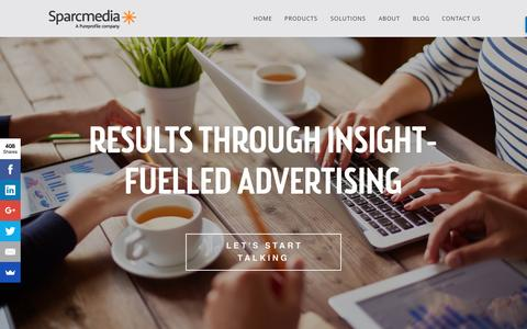 Screenshot of Home Page sparcmedia.com - Sparcmedia Insights Fuelled Advertising - captured Aug. 15, 2016