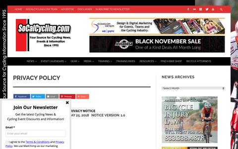 Screenshot of Privacy Page socalcycling.com - Privacy Policy - SoCalCycling.com - captured Nov. 7, 2018