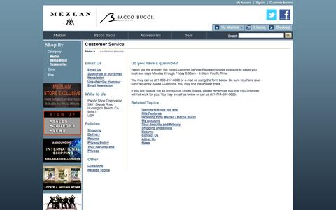 Screenshot of Support Page mezlan.com - Mezlan and Bacco Bucci Official Online store - captured Oct. 27, 2014