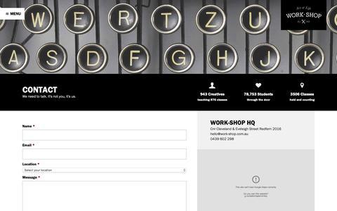 Screenshot of Contact Page work-shop.com.au - Contact - Work-Shop - captured Oct. 20, 2018