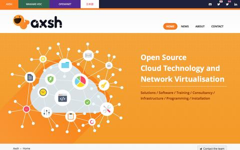 Screenshot of Home Page axsh.jp - Cloud computing, datacenter and network virtualization | Axsh - captured Feb. 7, 2016