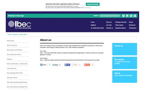 Screenshot of About Page ibec.ie - About Ibec   Ibec - For Irish business - captured Sept. 30, 2014