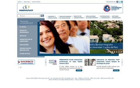 Screenshot of pucp.edu.pe - INNOVAPUCP – Centro de Consultoría y Servicios Integrados - captured Oct. 10, 2014