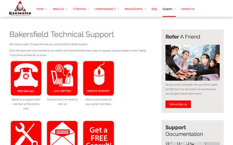 Screenshot of Support Page exclusivetechs.com - Tech Support Services | Bakersfield, California | Exclusive Technologies, Inc - captured Sept. 24, 2018