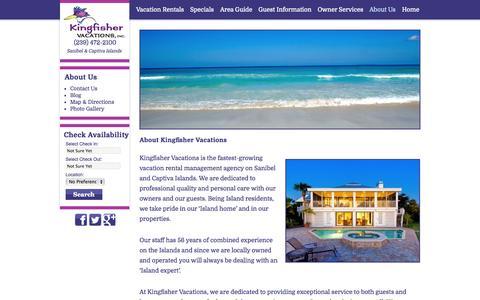 Screenshot of About Page kingfishervacations.net - Sanibel & Captiva Vacation Rentals and Management | About Kingfisher Vacations - captured Oct. 6, 2014