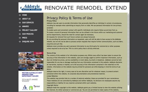Screenshot of Privacy Page addstyle.net - Privacy & Terms of Use | Addstyle Master Builders - captured Oct. 4, 2014