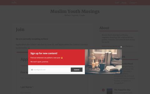 Screenshot of Signup Page muslimyouthmusings.com - MYM Application Form - captured Oct. 20, 2018
