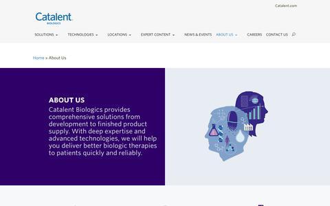 Screenshot of About Page catalent.com - About Us - Catalent Biologics - captured Dec. 8, 2018