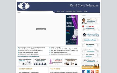 Screenshot of Home Page fide.com - World Chess Federation - FIDE - captured Jan. 12, 2018