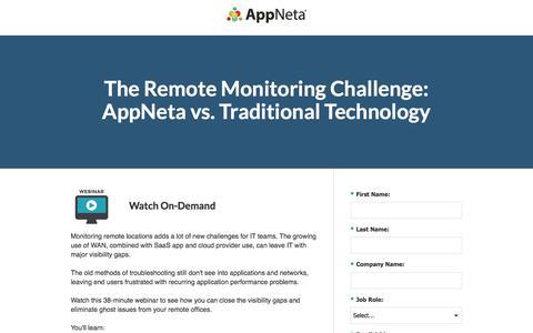 Screenshot of Landing Page appneta.com - The Remote Monitoring Challenge: AppNeta vs. Traditional Tech - captured Oct. 24, 2017