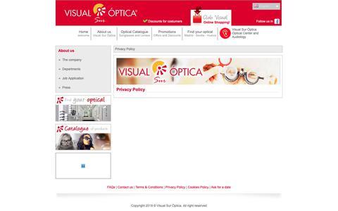 Screenshot of Privacy Page visualoptica.es - Visual Sur Optica | Optica Online - Opticas en Madrid Sevilla Huelva - captured Oct. 18, 2018