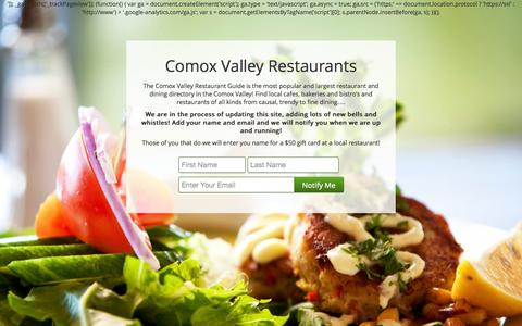 Screenshot of Home Page comoxvalleyrestaurants.ca - Your Comox Valley Restaurant Directory - Comox Valley Restaurants - captured Oct. 3, 2014