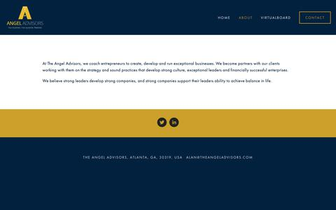 Screenshot of About Page theangeladvisors.com - about — The Angel Advisors - captured Dec. 10, 2018
