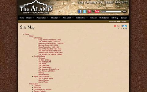 Screenshot of Site Map Page thealamo.org - Site Map - captured Nov. 4, 2014