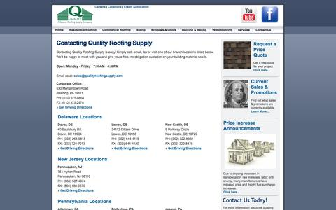 Screenshot of Contact Page Locations Page qualityroofingsupply.com - Quality Roofing Supply: Delaware, New Jersey and Pennsylvania Distributor Of Residential Roofing, Commercial Roofing, Siding, Windows, Skylights, Windows, Doors, Decking, Railing And Accessories. - captured Oct. 22, 2014