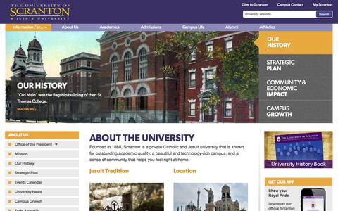 Screenshot of About Page scranton.edu - About Us: The University of Scranton - captured Oct. 26, 2014