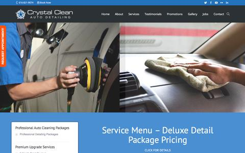 Screenshot of Services Page crystalcleanautodetailing.com - Our Service Menu - Crystal Clean Auto Detailing Grand Rapids - captured July 23, 2018