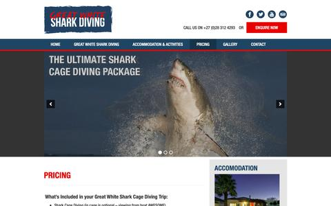 Screenshot of Pricing Page greatwhitesharkdiving.co.za - Pricing - Great White Shark Diving - captured Sept. 30, 2018