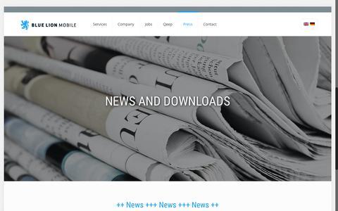 Screenshot of Press Page bluelionmobile.com - Blue Lion mobile - News - captured Dec. 4, 2015