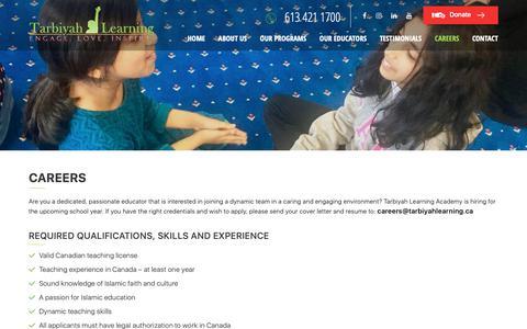 Screenshot of Jobs Page tarbiyahlearning.ca - Careers | Tarbiyah Learning - captured Nov. 19, 2018