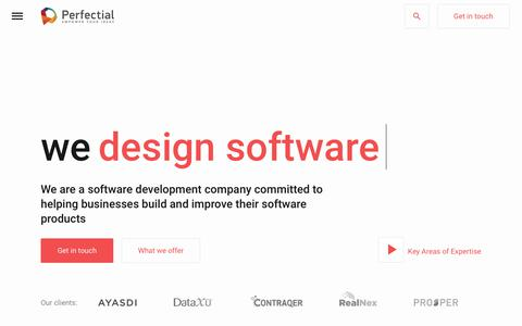 Screenshot of Home Page perfectial.com - Custom Software Development Company for Small and Large Businesses - captured July 15, 2018