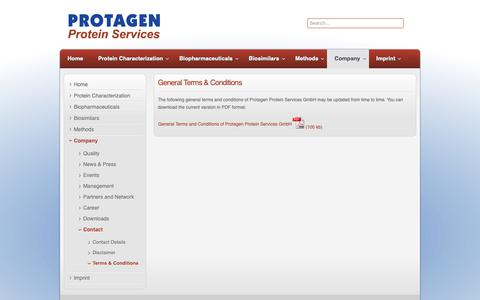 Screenshot of Terms Page protagenproteinservices.com - Terms & Conditions - Protagen Protein Services - captured Sept. 30, 2018