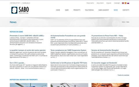 Screenshot of Press Page sabo.it - Notizie - SABO - captured Oct. 1, 2018