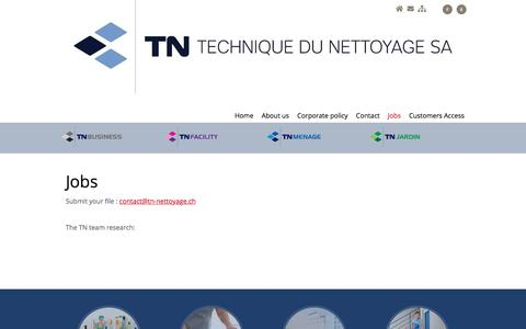 Screenshot of Jobs Page tn-nettoyage.ch - TN Technique du nettoyage SA: cleaning and facility management company Switzerland - captured Sept. 24, 2018