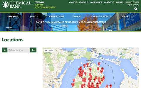 Screenshot of Locations Page chemicalbankmi.com - Locations across Michigan   Chemical Bank - captured Jan. 20, 2016