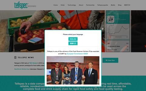 Screenshot of Home Page tellspec.com - Tellspec - Food Analysis, Food Fraud - captured Oct. 21, 2017