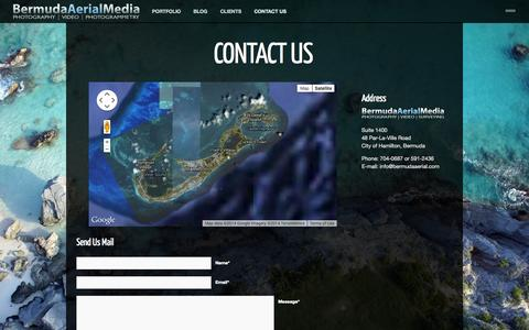 Screenshot of Contact Page bermudaaerial.com - CONTACT US ‹ Bermuda Aerial Media - captured Oct. 5, 2014