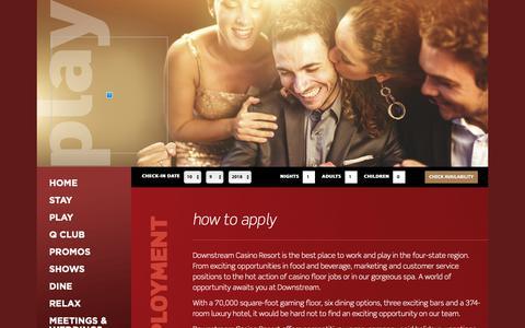 Screenshot of Jobs Page downstreamcasino.com - Downstream Casino Resort - captured Oct. 9, 2018