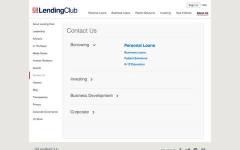 Screenshot of Contact Page lendingclub.com - Info - Lending Club - captured Nov. 18, 2015