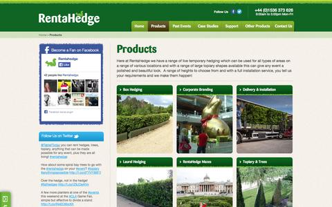 Screenshot of Products Page rentahedge.com - Rental Hedges | Box, Laurel Hedging, Topiary Trees & Hedge Mazes - captured Oct. 7, 2014
