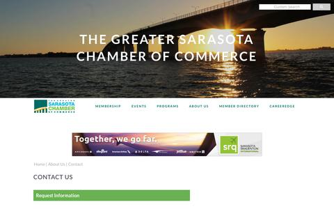 Screenshot of Contact Page sarasotachamber.com - Contact Us   The Greater Sarasota Chamber of Commerce   Sarasota, FL - captured Sept. 30, 2018