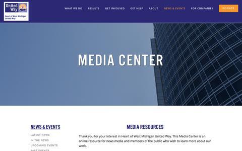 Screenshot of Press Page hwmuw.org - Media Center — Heart of West Michigan United Way - captured Nov. 5, 2016