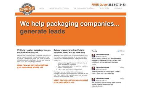 Screenshot of Home Page kondrackigroup.com - Outsourced marketing services | Trade show solutions | The Kondracki Group - captured Oct. 6, 2014