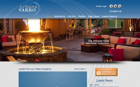Screenshot of Home Page urbanavarro.com - Urbana Varro, LLC | Property Funds Sector | Hospitality Investment - captured Oct. 6, 2014