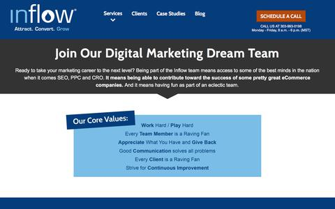 Screenshot of Jobs Page goinflow.com - eCommerce Marketing Job Openings in Denver, CO - SEO, PPC, CRO - captured April 21, 2018