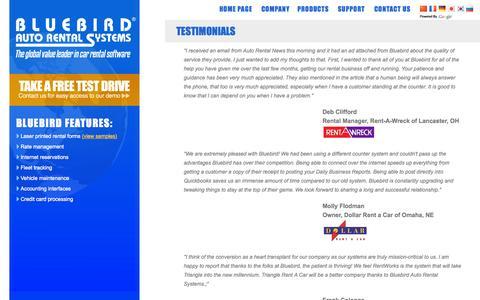 Screenshot of Testimonials Page barsnet.com - Bluebird Auto Rental Systems - Online Car Rental Software - captured Sept. 24, 2014