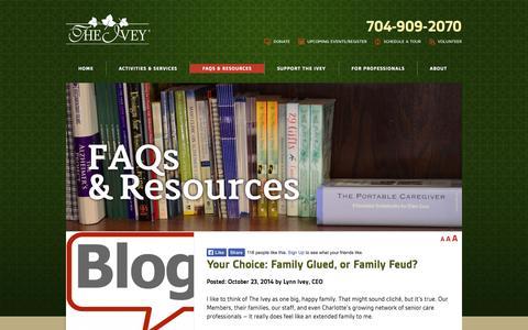 Screenshot of Blog theivey.com - BLOG | Adult Day Care | The Ivey - captured Nov. 1, 2014
