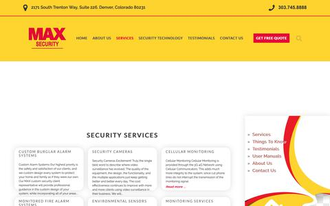 Screenshot of Services Page maxsecuritydenver.com - Security Services - captured Dec. 20, 2018