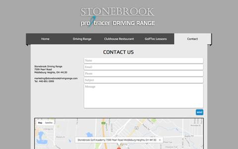 Screenshot of Contact Page stonebrookdrivingrange.com - Stonebrook Driving Range | Contact Us - captured Aug. 17, 2016