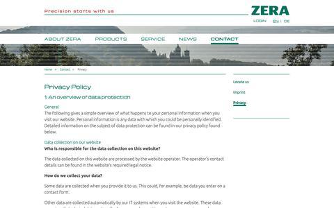 Screenshot of Privacy Page zera.de - ZERA GmbH: Privacy - captured Oct. 19, 2018