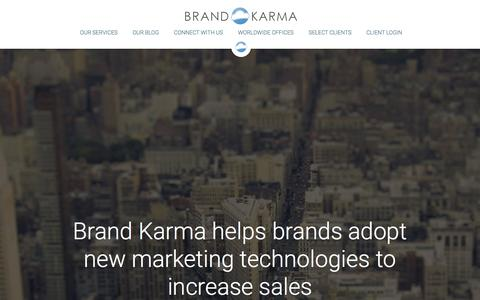 Screenshot of Home Page brand-karma.com - Brand Karma | Virtual Reality & Digital Marketing for Hotels - captured Jan. 21, 2016