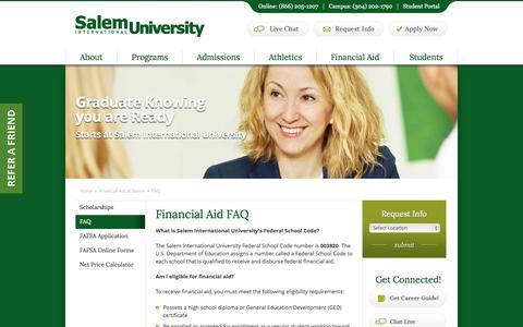 Screenshot of FAQ Page salemu.edu - Financial Aid FAQ - captured Sept. 19, 2014