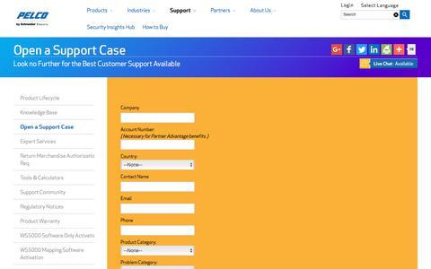 Screenshot of pelco.com - Open a Support Case | Contact Pelco Support - captured Nov. 13, 2017