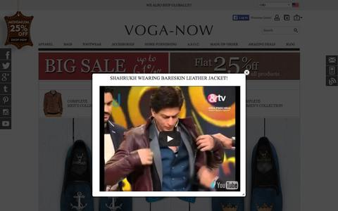 Screenshot of Home Page voganow.com - 100% Genuine Leather Accessories: Buy Leather Jackets, Bags, Belts, Wallets, Footwear For Men & Women In India   Voganow.com - captured Aug. 8, 2015