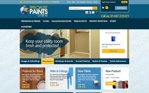 Screenshot of Home Page specialistpaintsonline.co.uk - High performance floor, walls, ceiling and door paints to buy online. - captured Oct. 9, 2014