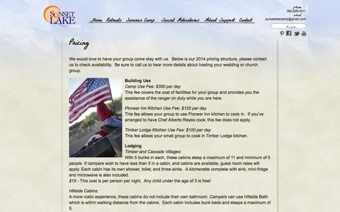 Screenshot of Pricing Page sunsetlake.org - Pricing | Sunset Lake Camp - captured Oct. 7, 2014